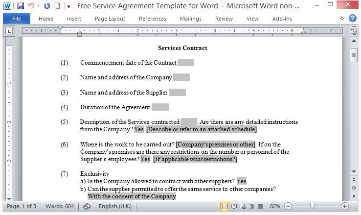 free service agreement template for word