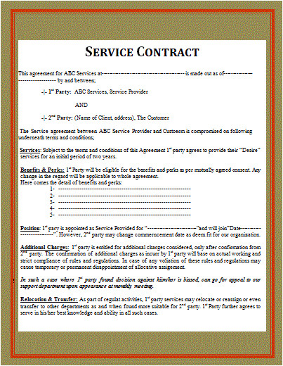 Contract to Provide Services Template Simple Service Contract Free Word Templates