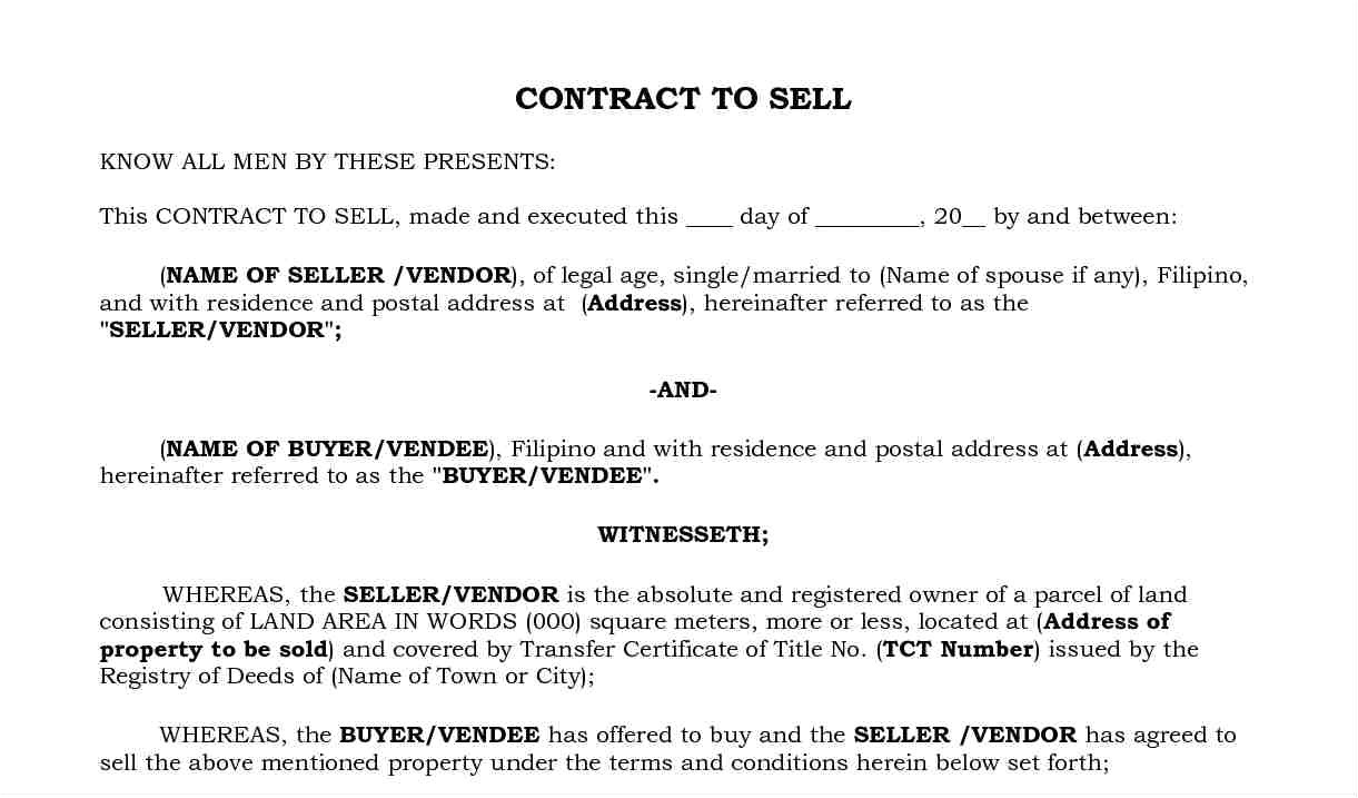 Contract to Sell Template Housing Loan Requirements In the Philippines Zipmatch
