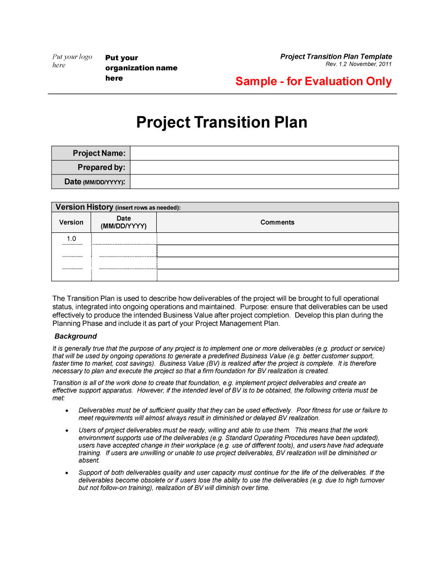 transition plan templates