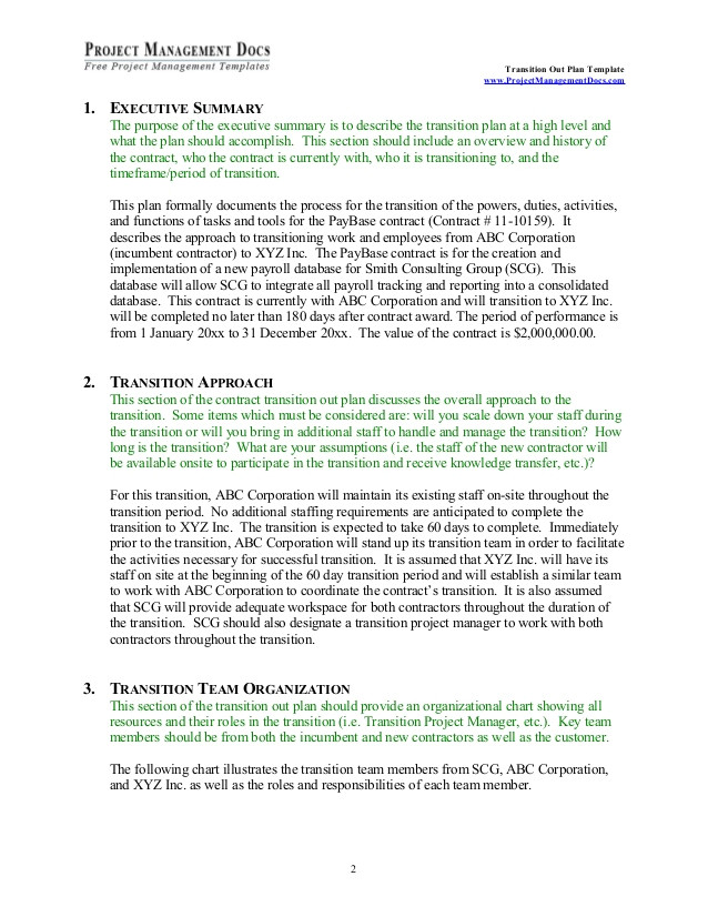 Contract Transition Plan Template Transition Out Plan