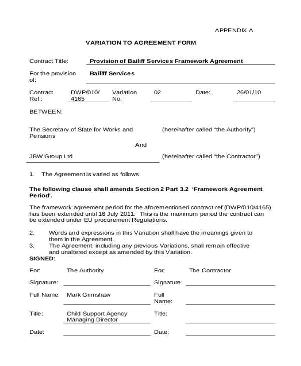 contract form template