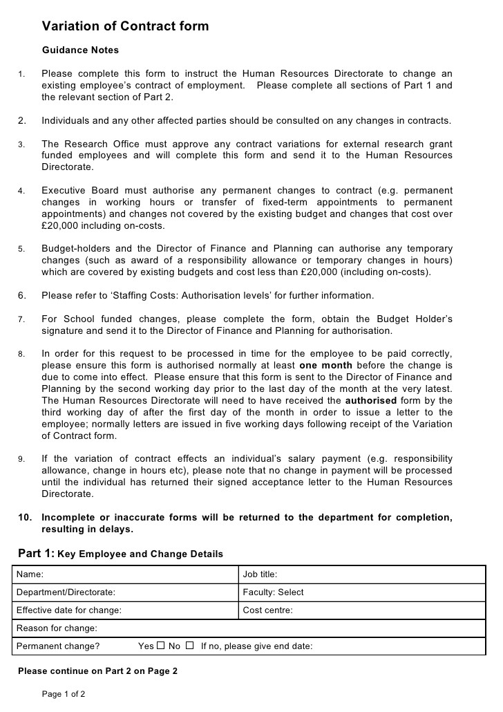 variation of contract form