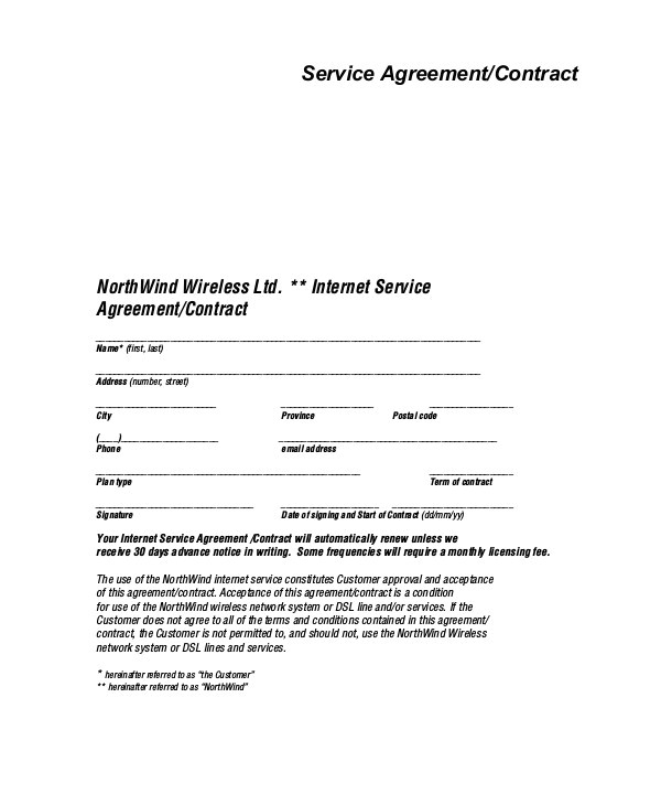 service agreement contract