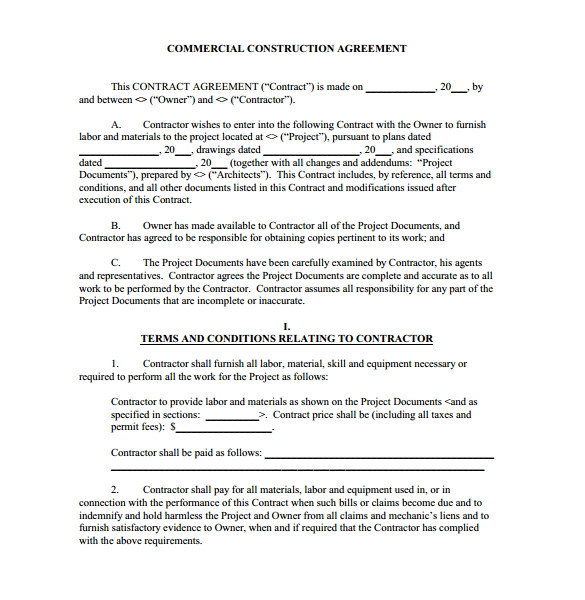 Contractor Contracts Templates Construction Contract 9 Download Documents In Pdf