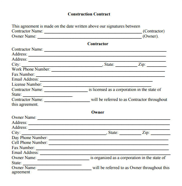 contractual agreement template