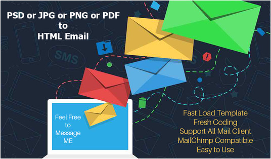 convert jpg or png or pdf of psd to html email template
