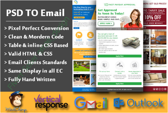 convert psd or pdf into html email template