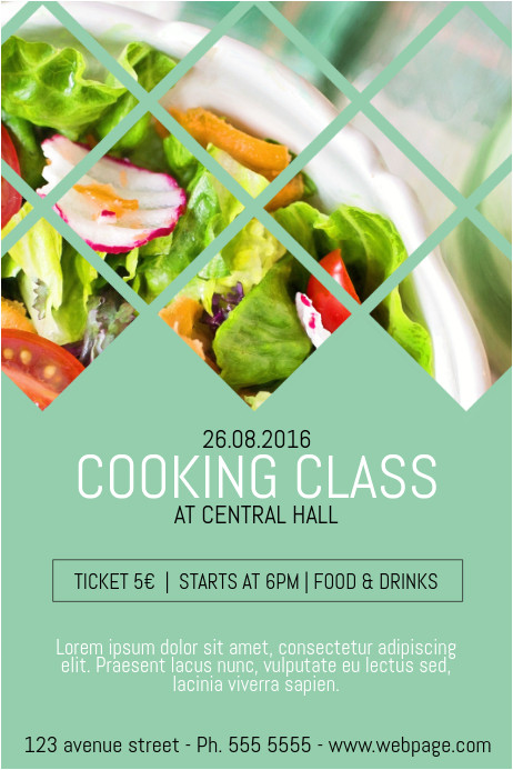 cooking classes class course poster template
