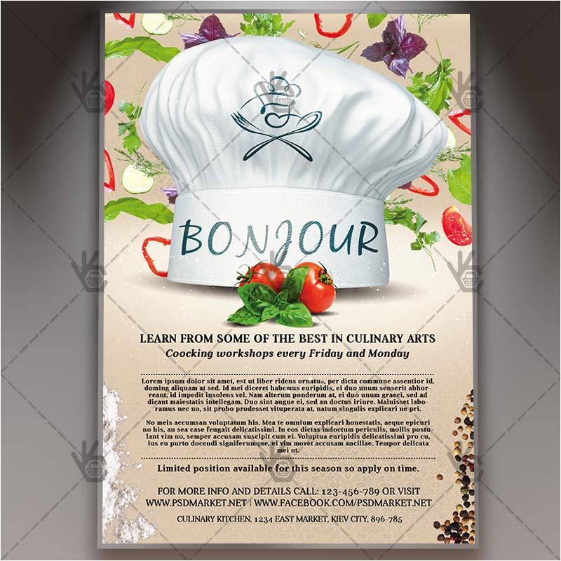 cooking class premium flyer psd template