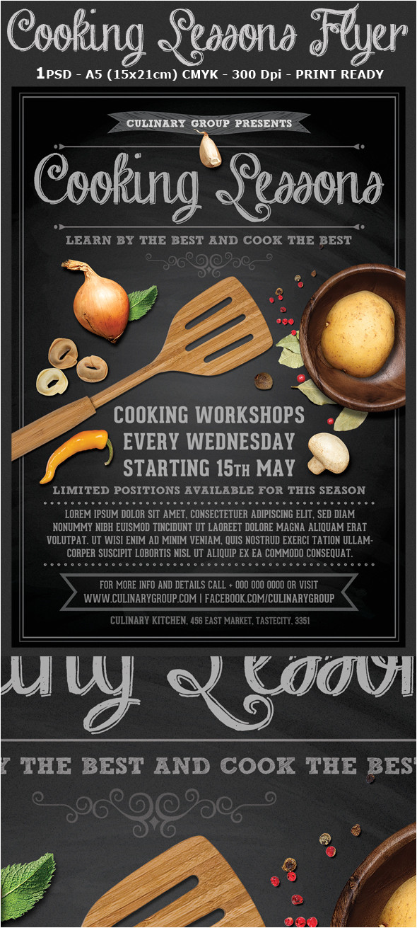 Cooking Flyers Templates Free Cooking Lessons Flyer Template V2 On Behance
