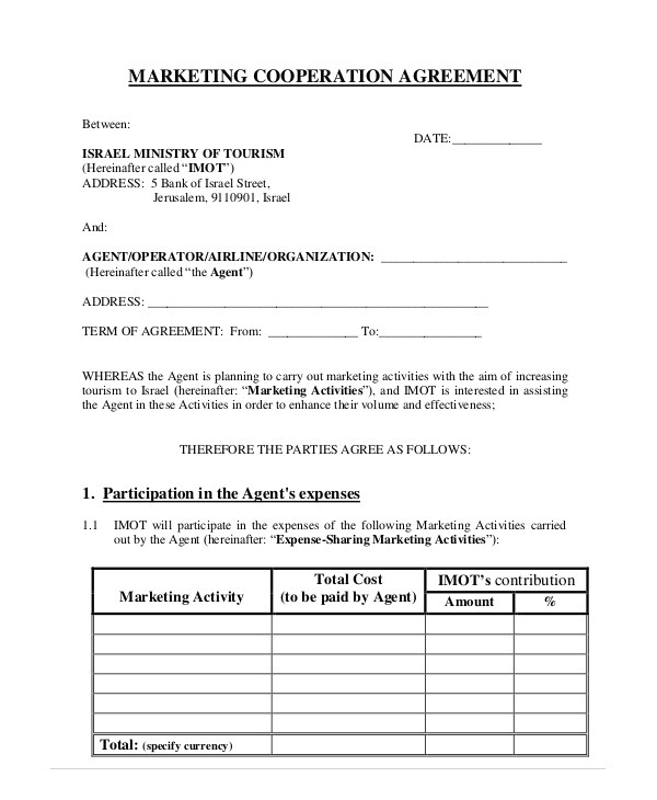 Cooperation Contract Template 11 Cooperation Agreement Templates Free Word Pdf