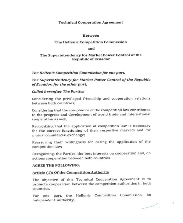 cooperation agreement templates