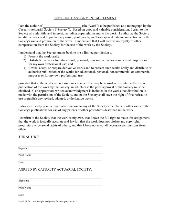 copyright assignment agreement