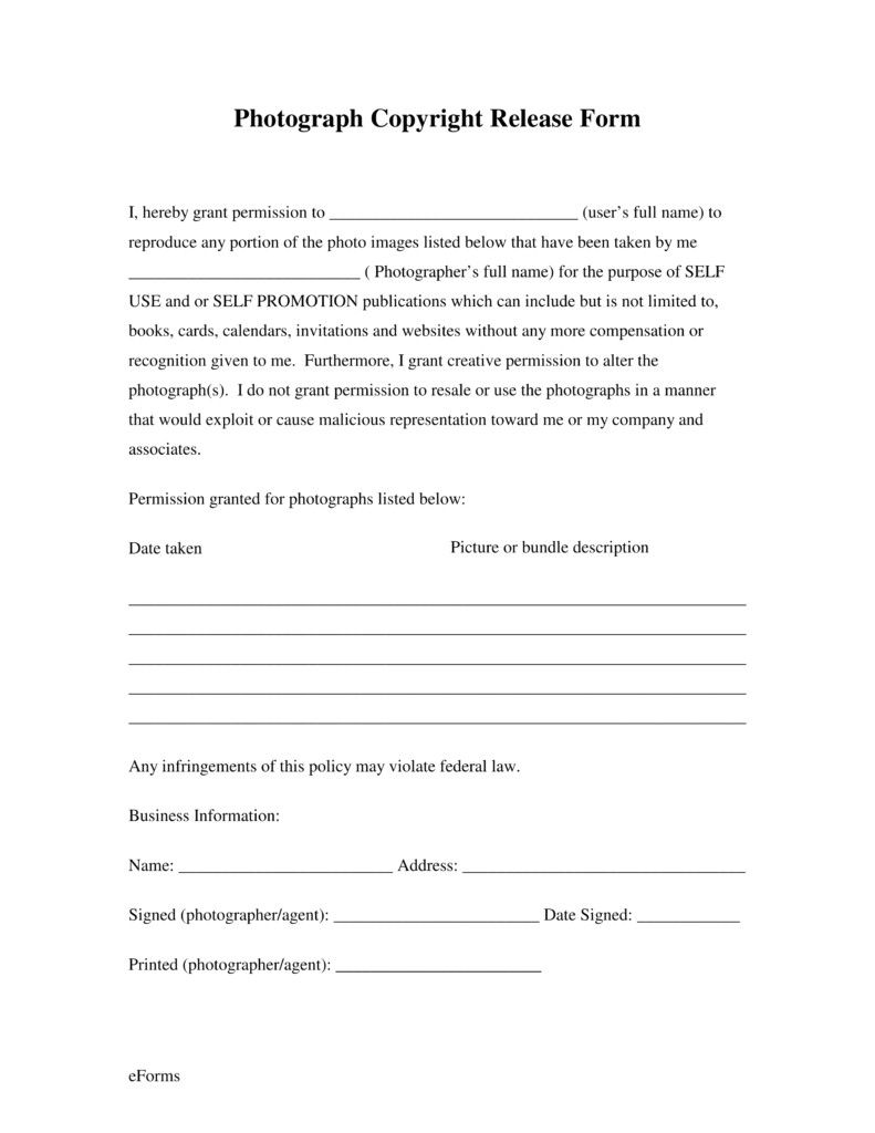 Copyright Contract Template Free Free Generic Photo Copyright Release form Pdf Eforms