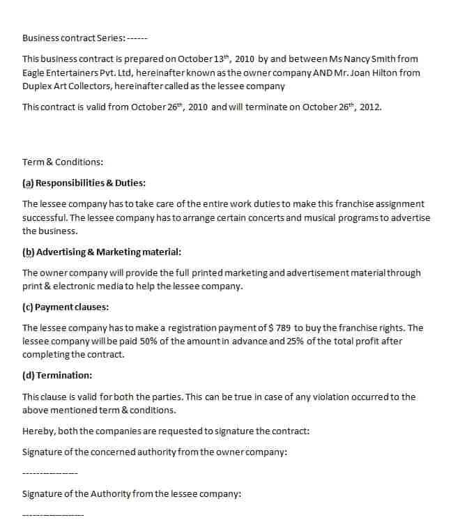 Corp to Corp Contract Template Business Contract Template Contract Agreements formats