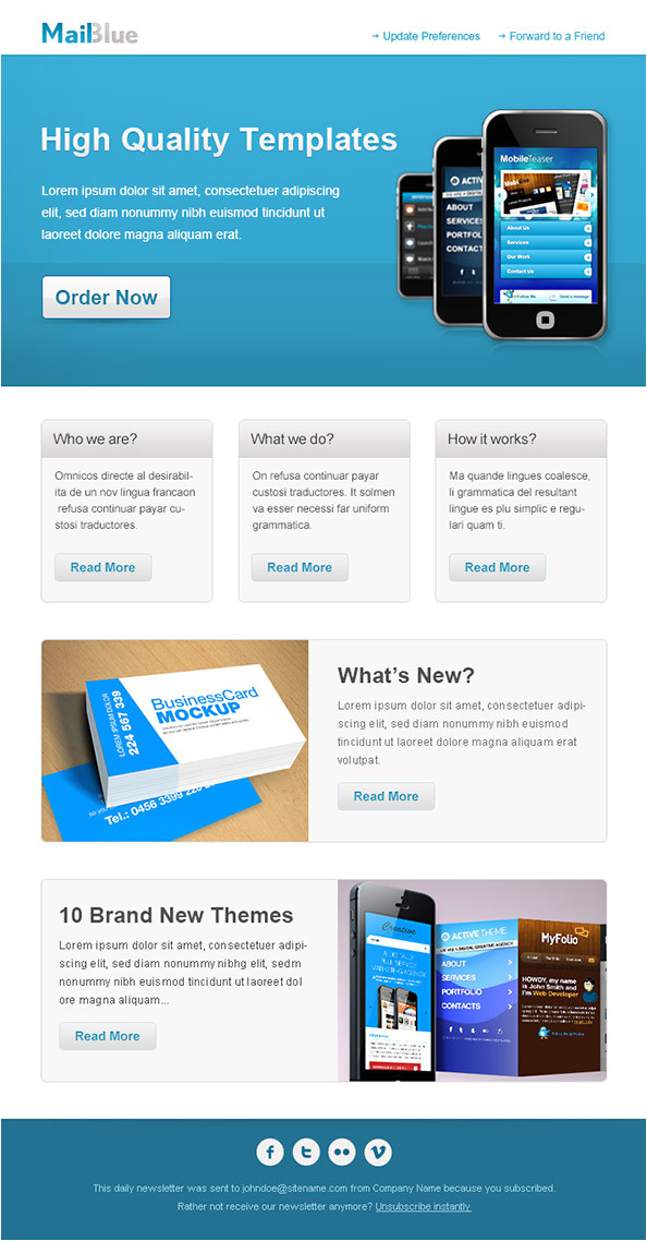 business email template in blue colors