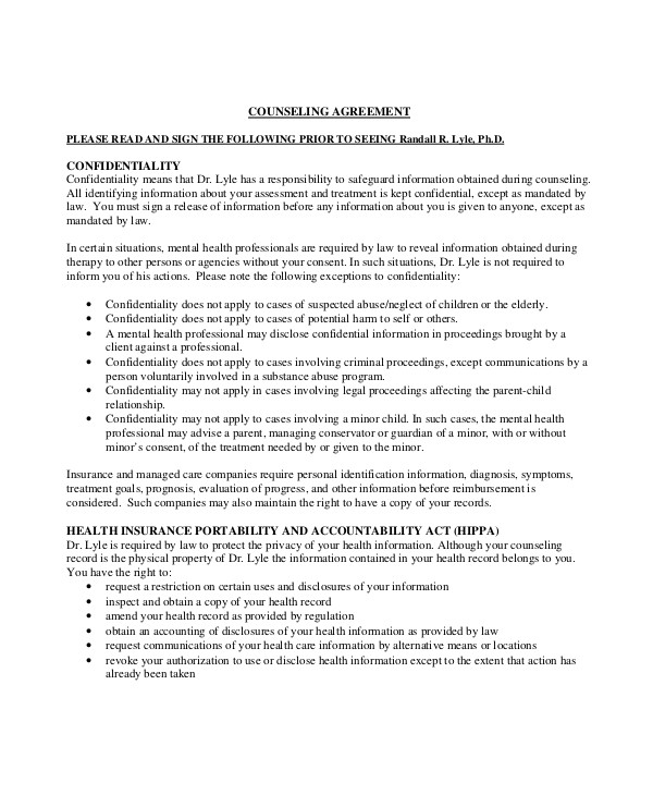 Counselling Client Contract Template Client Confidentiality Agreement 9 Free Word Excel