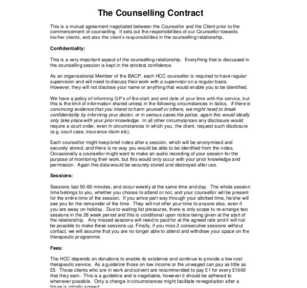 Counselling Contract Template 8 Counselling Contract Examples Pdf Doc Examples