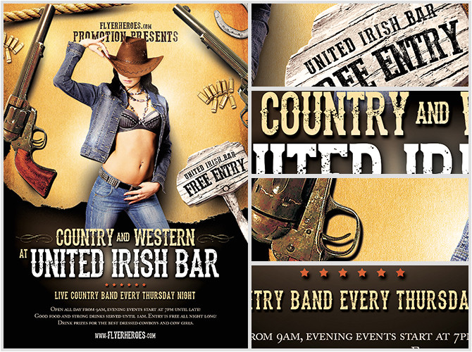 Country Western Flyer Template Free Country and Western Flyer Template Flyerheroes
