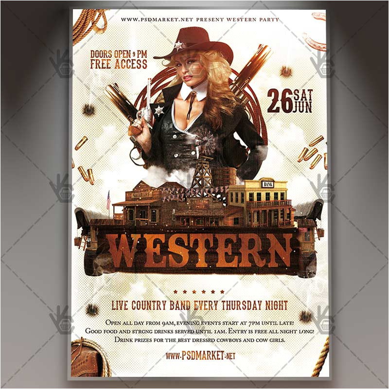 western party premium flyer psd template