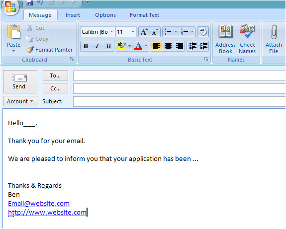how to create an email template in microsoft outlook 2007