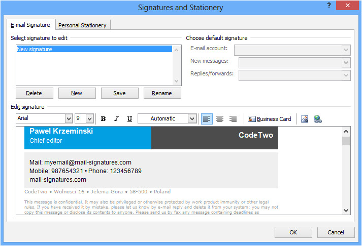 html email signature setup outlook 2007