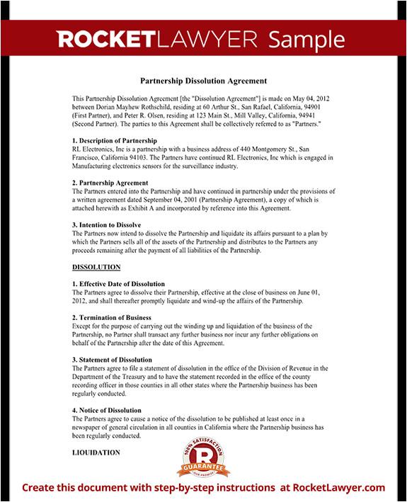 partnership dissolution agreement rl