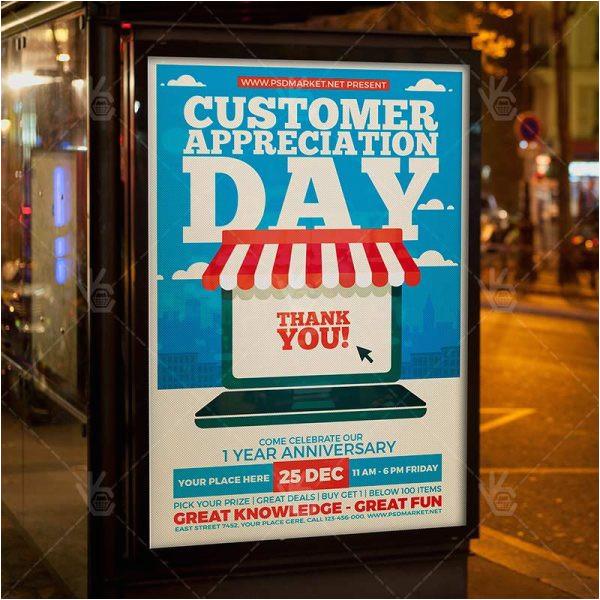 customer appreciation day business flyer psd template