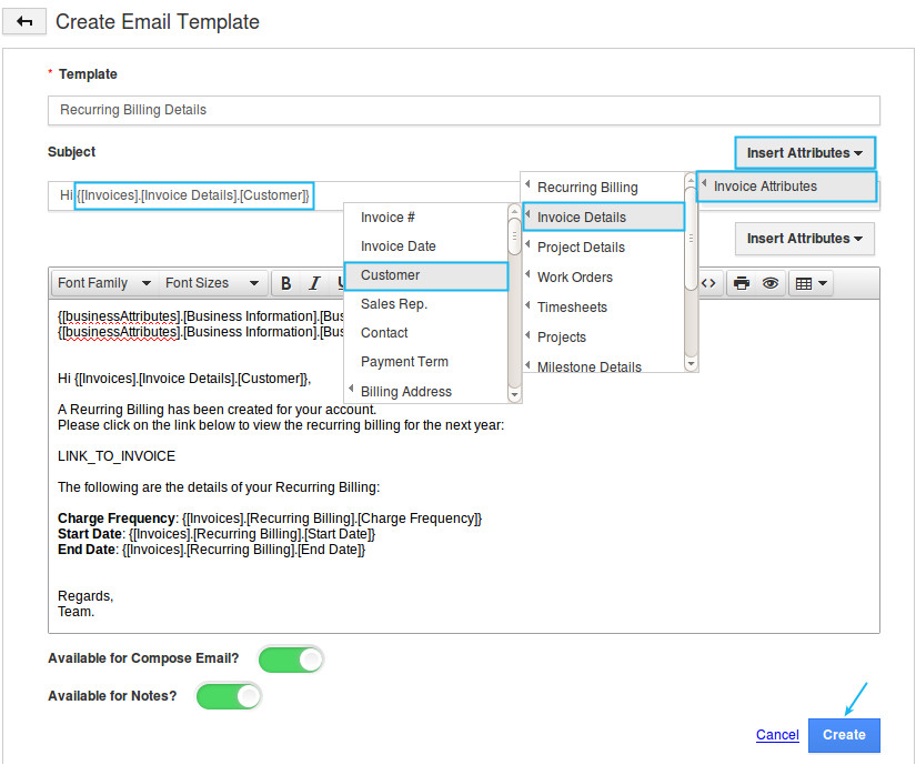 how do i setup custom email templates for my invoices