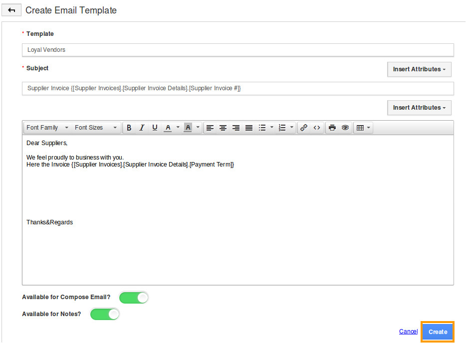 how do i setup custom email templates for my supplier invoices