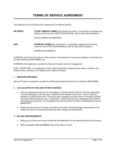 terms of service agreement d174