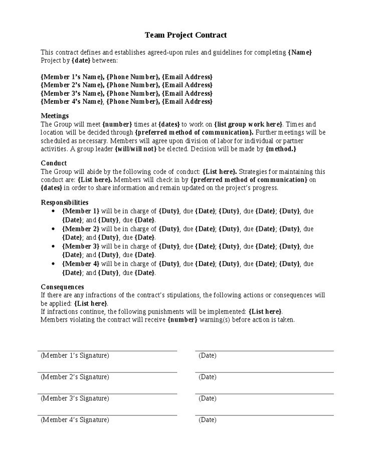 Dance Team Contract Template Project Team Contract Template Teplates for Every Day