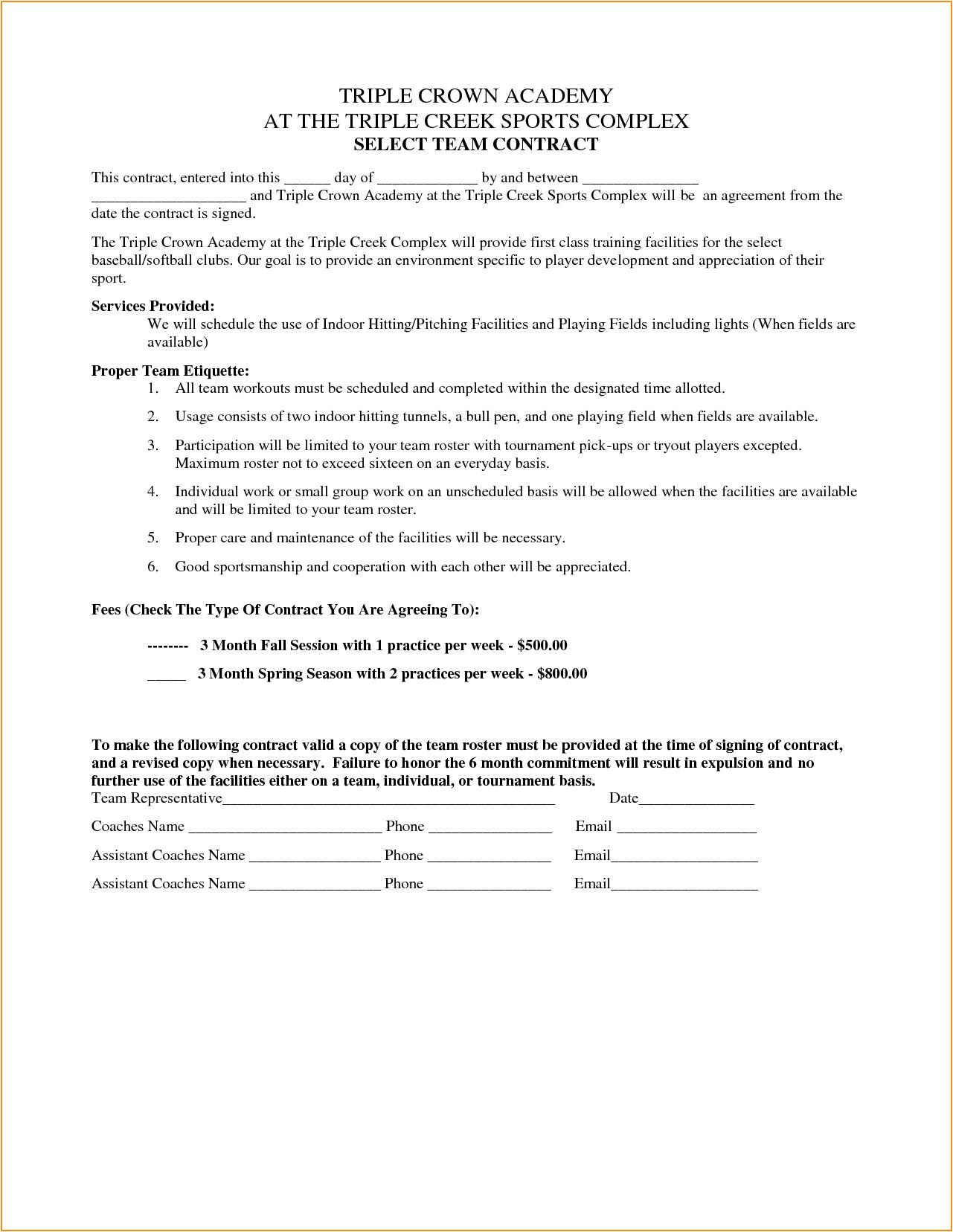 team contract template