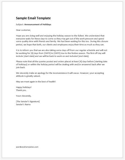 holiday announcement email to customers