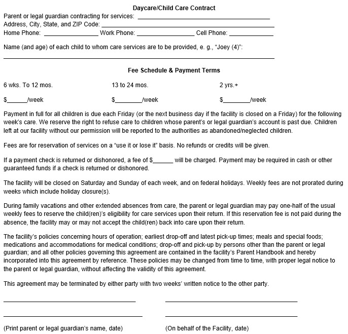 Daycare Contract Templates Free Click Here to Download This Free Sample Child Care