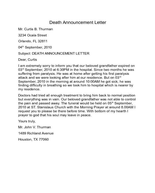 announcement letter templates