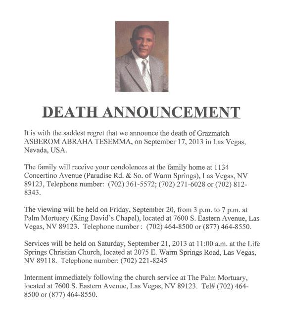 death notice template