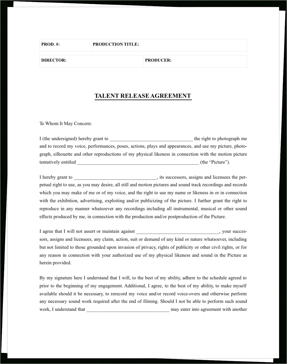 the complete guide to actor release forms free template film deferred payment contract template