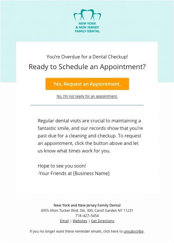 dental appointment reminder cards