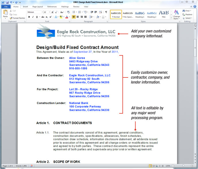 Design Build Contract Template form Uda Constructiondocs Design Build Construction Contract