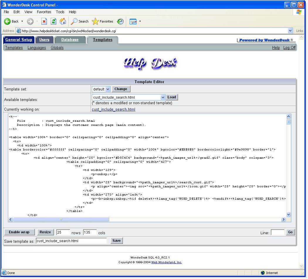 help desk software admin template editor