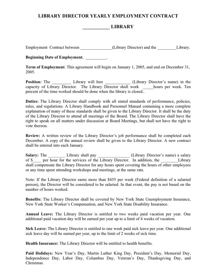 library director yearly employment contract template
