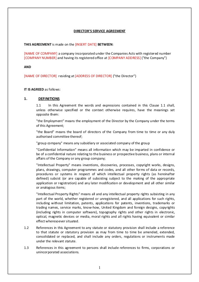 Directors Service Contract Template Directors Service Contract Tcw