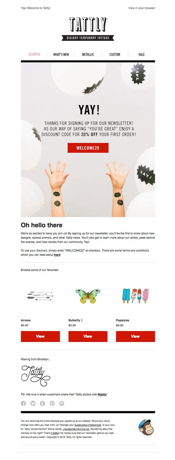 welcome email template design examples