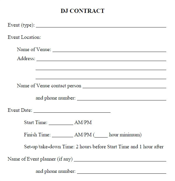 Dj Contracts Templates Dj Contract 20 Download Documents In Pdf Google Docs