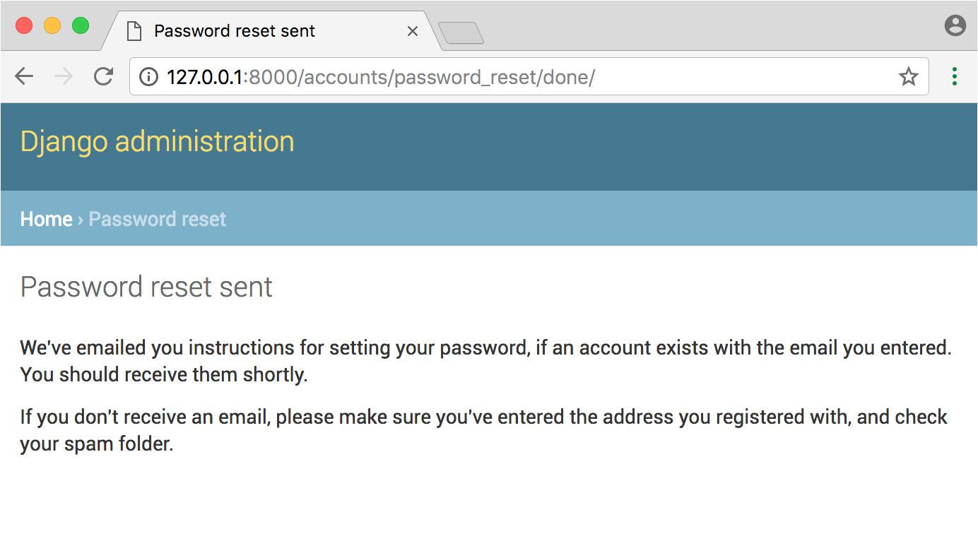 django user authentication tutorial password reset