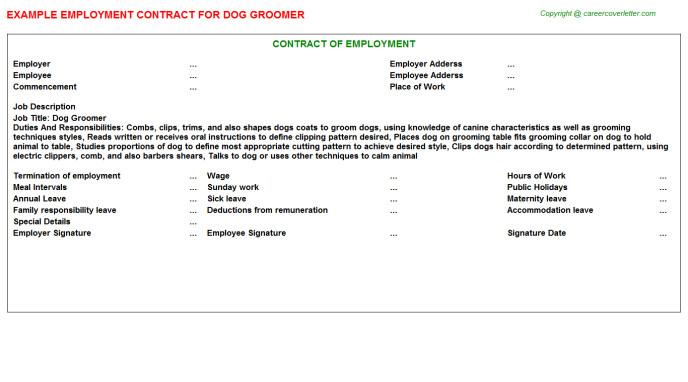 Dog Grooming Contract Template Dog Groomer Employment Contracts Employment Contracts
