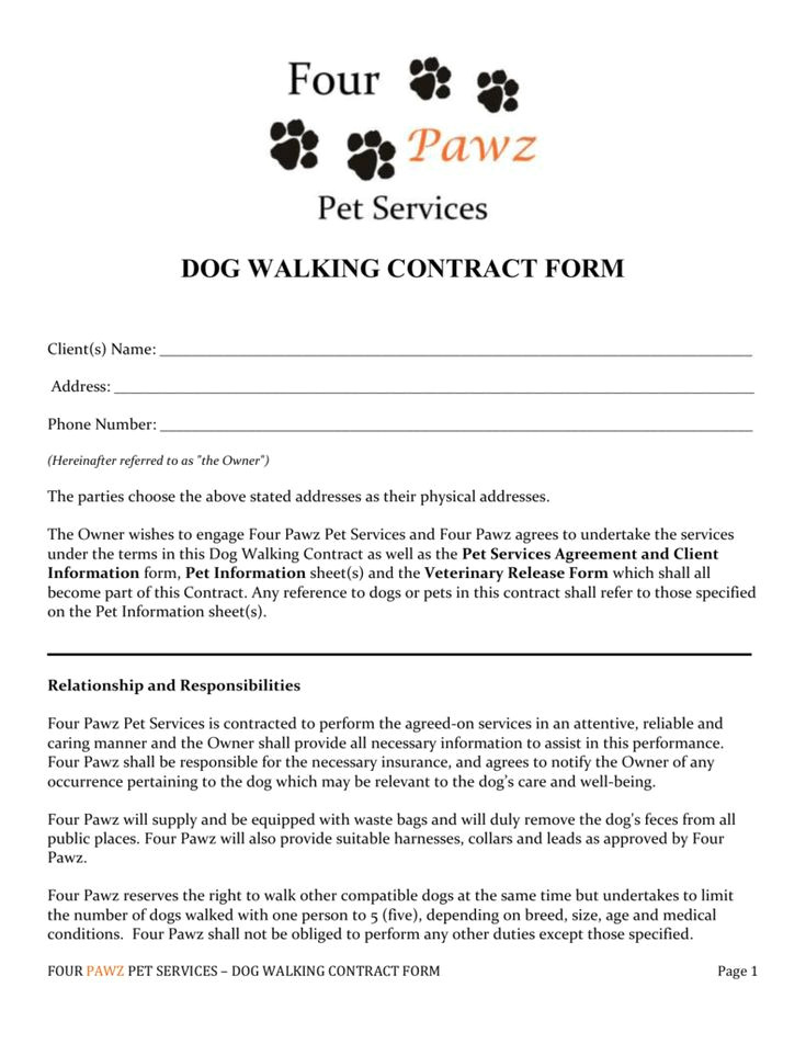 Dog Grooming Contract Template Walking form Images Cv Letter and format Dog Walking