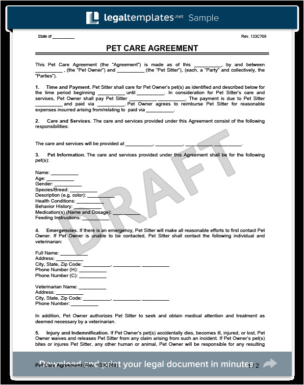 pet care agreement